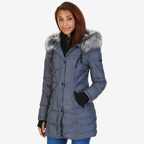 Chisel Faux Fur Hooded Puffer Coat - Ash Heather