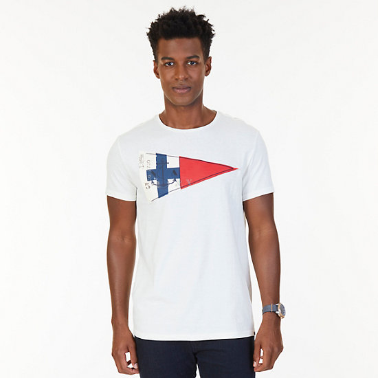 Nautica Big & Tall Sailing Flag Graphic T-Shirt - Marshmallow