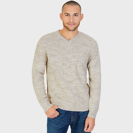 Chevron V-Neck Sweater,Oyster Brown,large