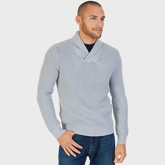 Shawl Collar Sweater,Grey Heather,large
