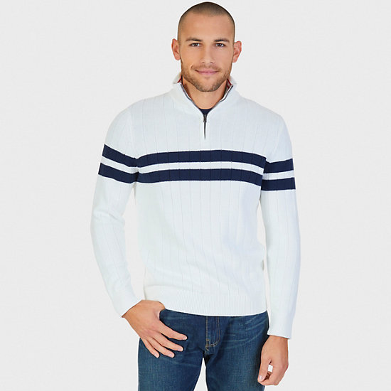 Double Stripe Ribbed Quarter Zip Sweater - Marshmallow