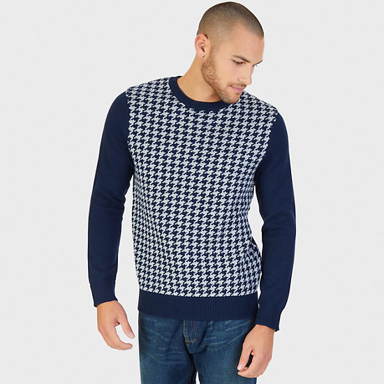 Houndstooth Crew Sweater,Navy,large