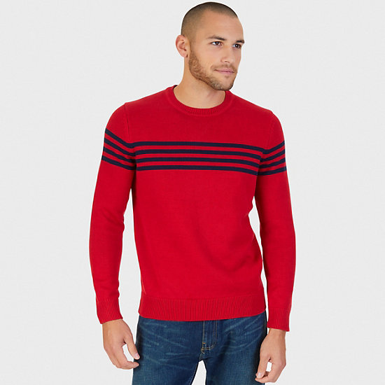Striped Crew Sweater,Nautica Red,large