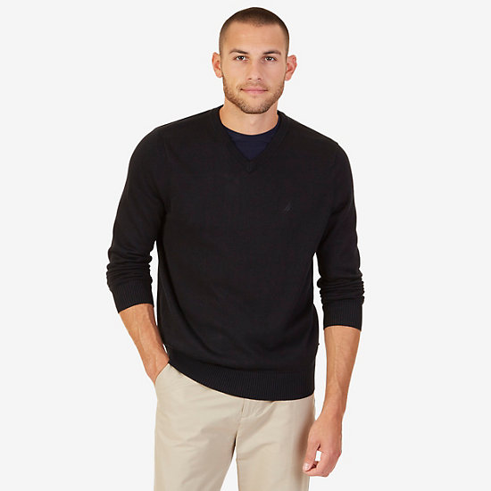 V-Neck Pullover Sweater - True Black