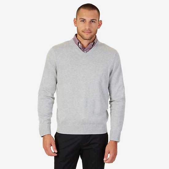 V-Neck Pullover Sweater - Grey Heather