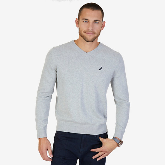 Lightweight Long Sleeve V-Neck Sweater  - Grey Heather