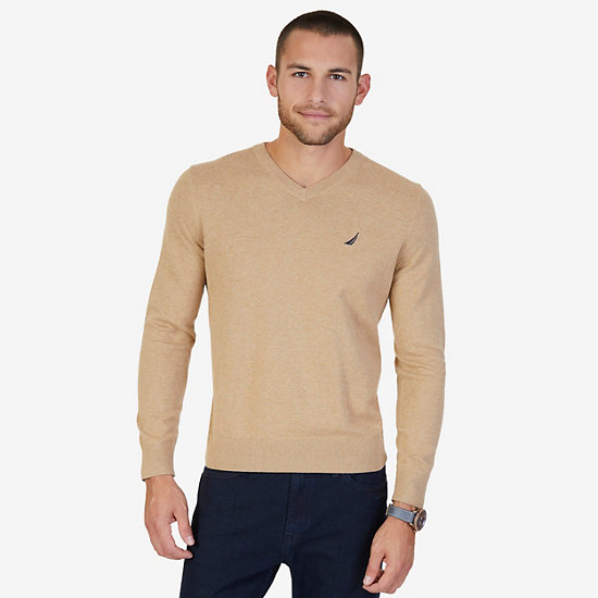 Lightweight Long Sleeve V-Neck Sweater  - Espresso