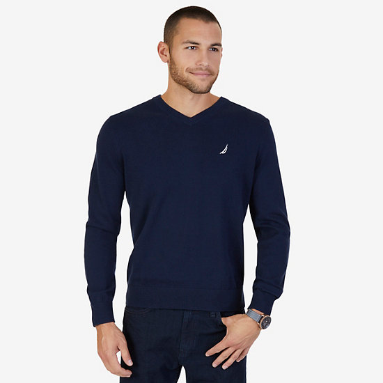 Lightweight Long Sleeve V-Neck Sweater  - Navy