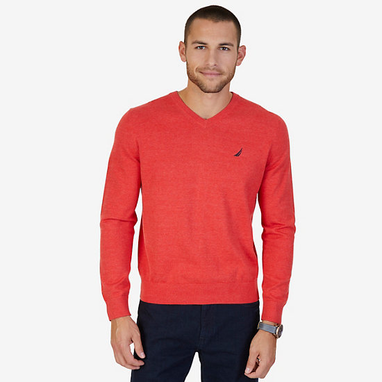 Lightweight Long Sleeve V-Neck Sweater  - Dark Acacia