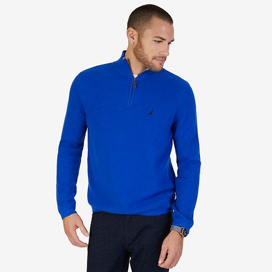 Quarter Zip Pullover Sweater,Bright Cobalt,large