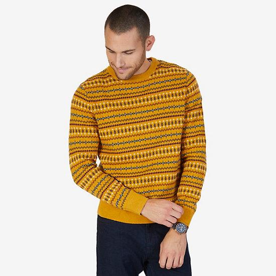 Fair Isle Crew Sweater - Light Mimosa