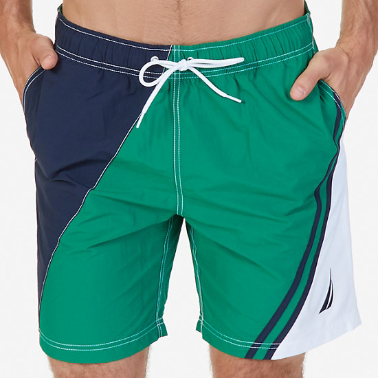 Quick Dry Diagonal Color Block Swim Trunk - Verdant Green