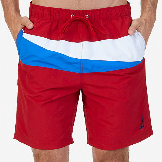 Quick Dry Sailing Flag Color Block Swim Trunk - Nautica Red