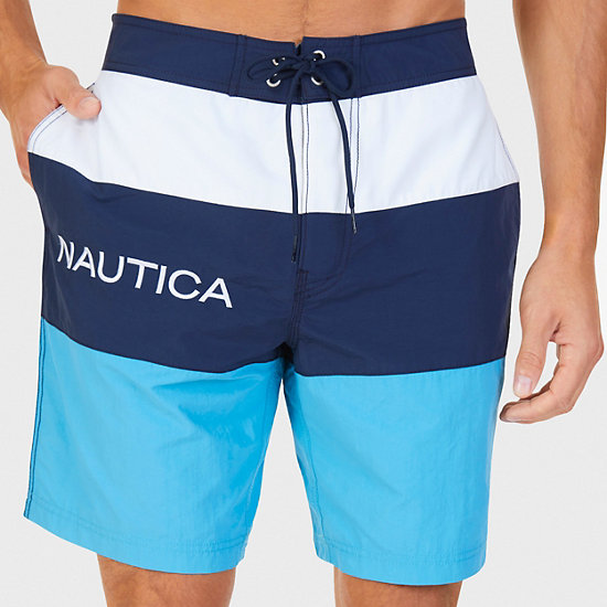 Quick Dry Colorblock Stripe Swim Trunk - Blue Moon
