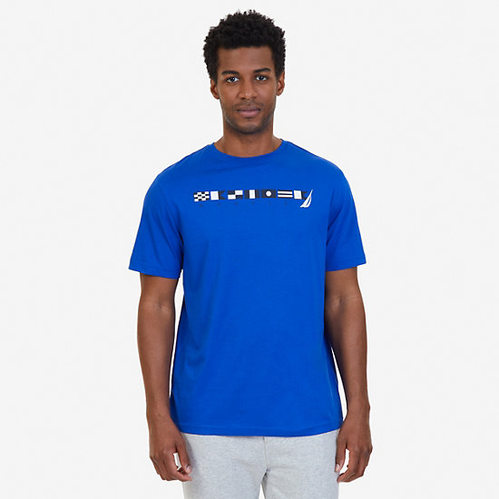 Sailing Flags Sleep T-Shirt - Bright Cobalt