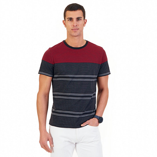 Striped T-Shirt,Nautica Red,large