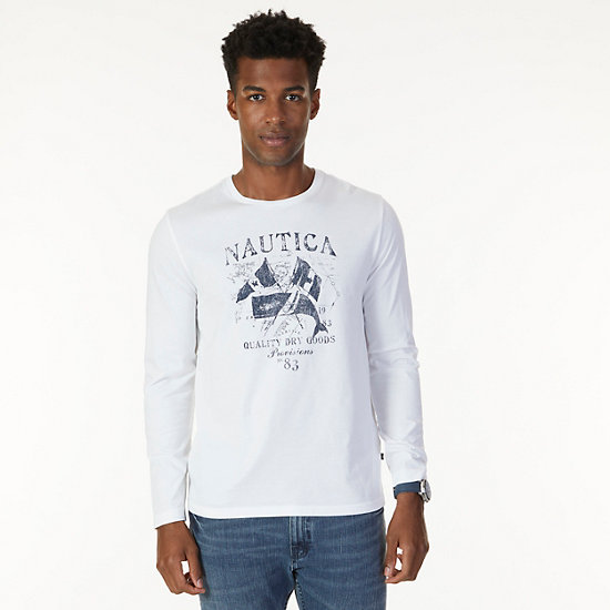Quality Dry Goods Graphic Long Sleeve T-Shirt - Bright White