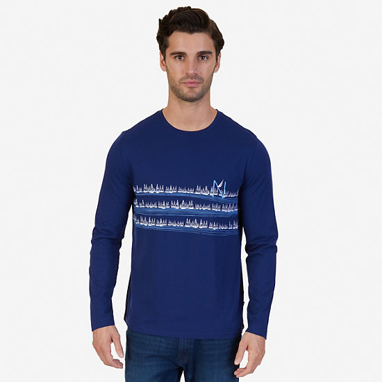 Sailboats Graphic Long Sleeve T-Shirt - J Navy