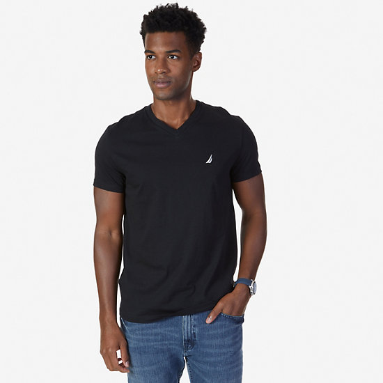 Solid V-Neck Slim Fit T-Shirt - True Black