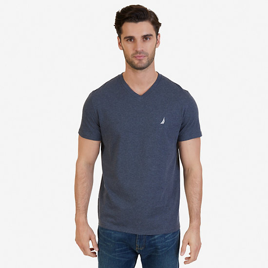 Solid V-Neck Slim Fit T-Shirt - Charcoal Hthr