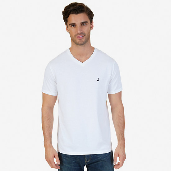 Solid V-Neck Slim Fit T-Shirt - Bright White