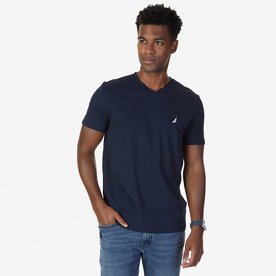 Solid V-Neck Slim Fit T-Shirt - Navy