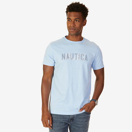 Nautica Logo Graphic T-Shirt,Washed Navy Heather,large