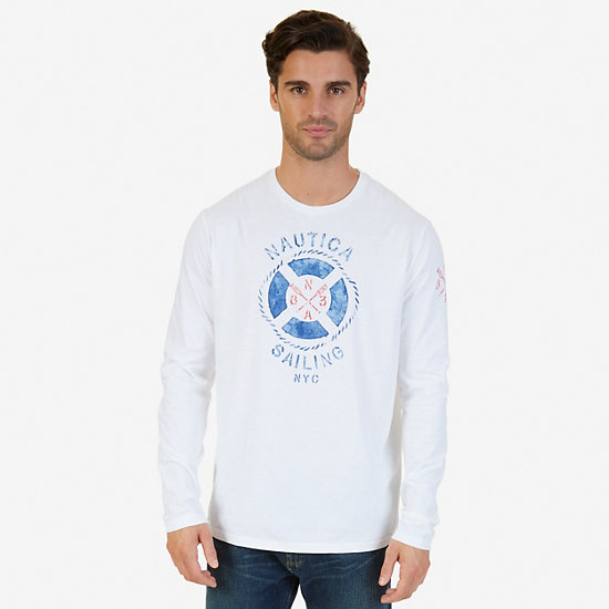 Sailing NYC Graphic Long Sleeve T-Shirt - Bright White