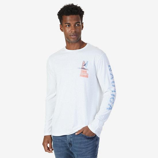 Signature Graphic Long Sleeve T-Shirt,Bright White,large