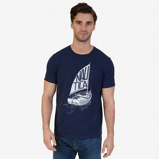 Nautica Boat Graphic T-Shirt,Navy,large