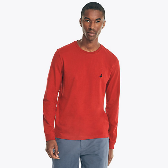 Solid Long Sleeve T-Shirt - Nautica Red