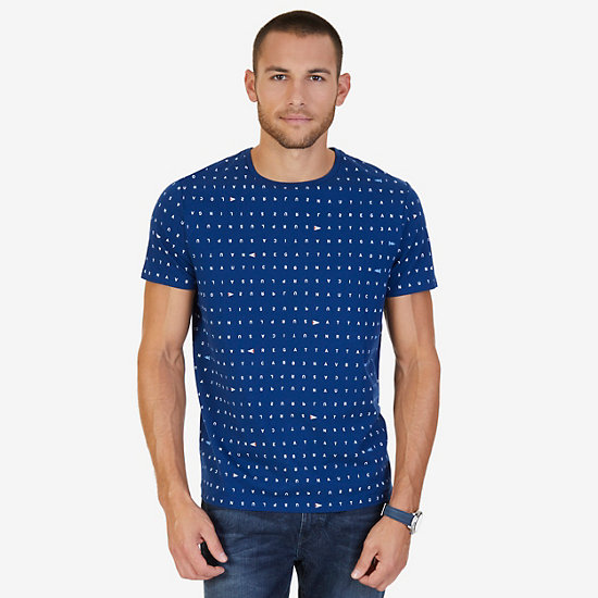 All Over Letter Graphic Tee,Estate Blue,large
