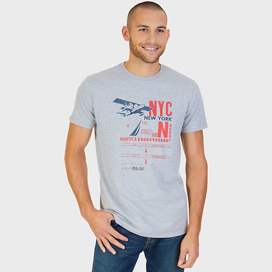 Distressed Airplane Graphic T-Shirt - Grey Heather