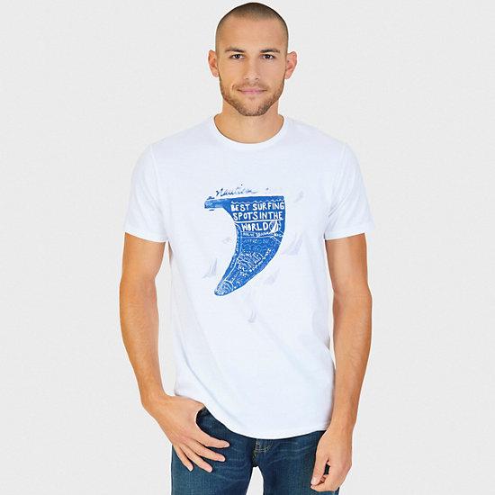 Surfing Around The World Graphic T-Shirt,Bright White,large