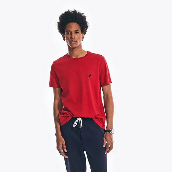 Solid Short Sleeve Crewneck T-Shirt - Nautica Red