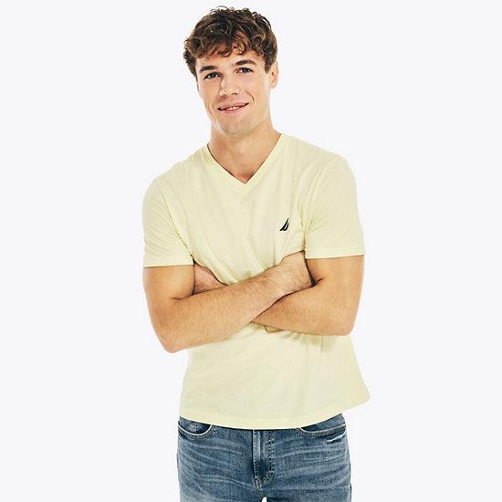 V-Neck Short Sleeve Slim Fit T-Shirt - Light Mimosa