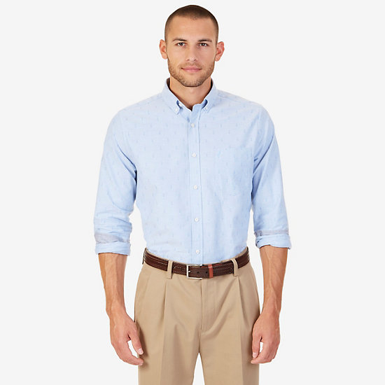 Nautica Classic Fit Dobby Anchor Shirt,Riviera Blue,large