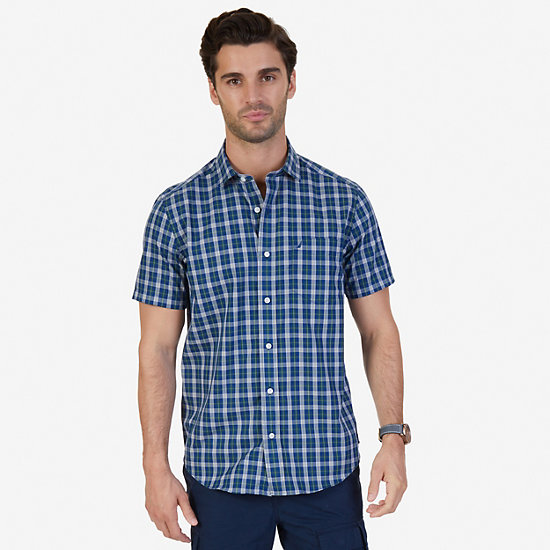 Classic Fit Wrinkle Resistant Seashore Plaid Short Sleeve Shirt - Estate Blue