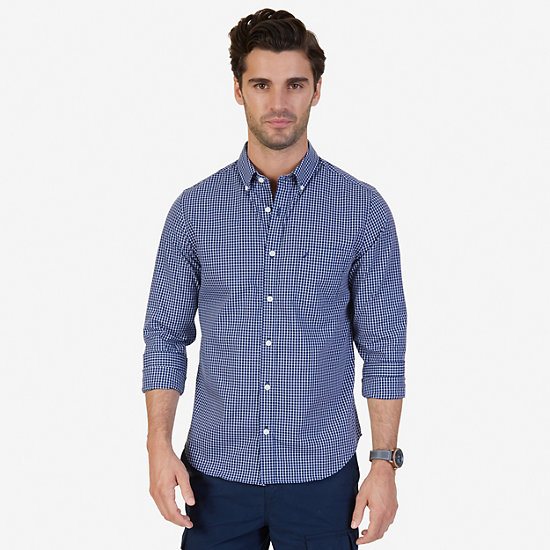 Slim Fit Wrinkle Resistant Windowpane Shirt - J Navy