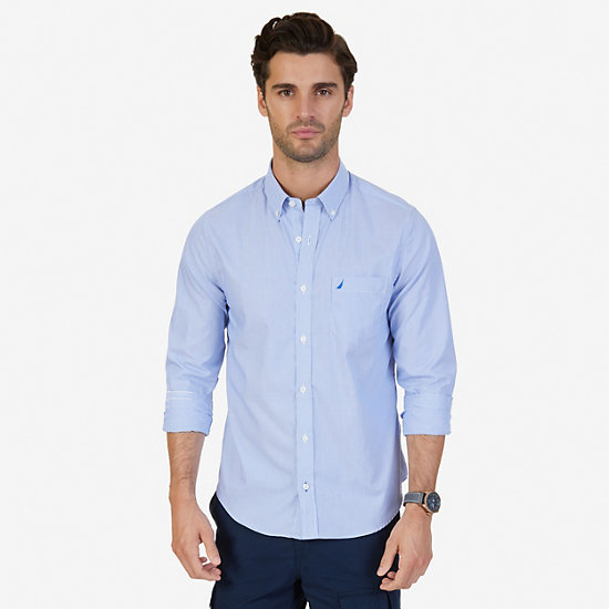 Slim Fit Wrinkle Resistant Striped Shirt - French Blue