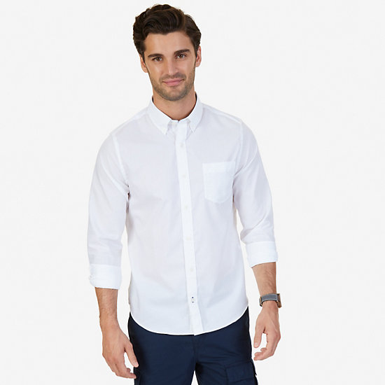 Solid Slim Fit Long Sleeve Button Down - Bright White
