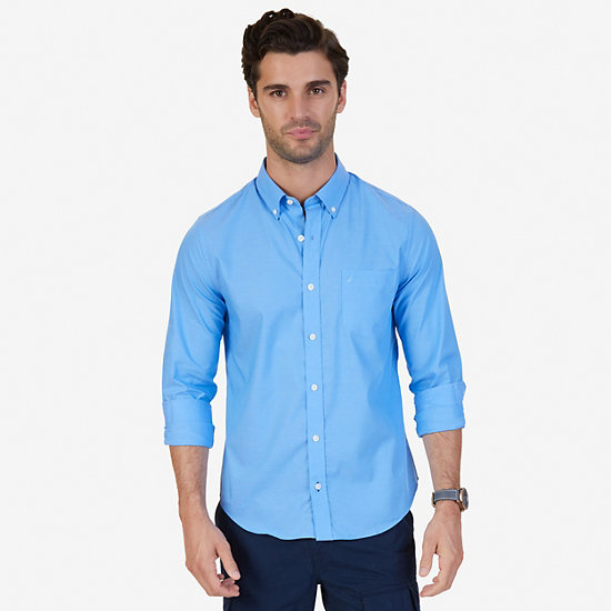 Solid Slim Fit Long Sleeve Button Down - Deep Sea