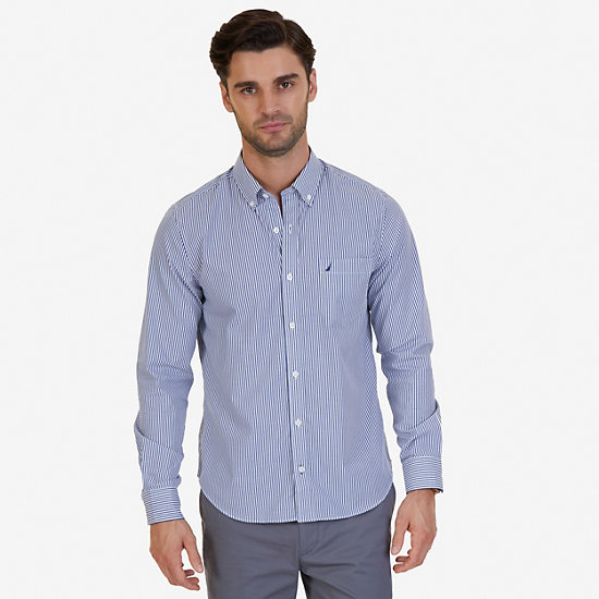 Striped Slim Fit Long Sleeve Button Down - Monaco Blue