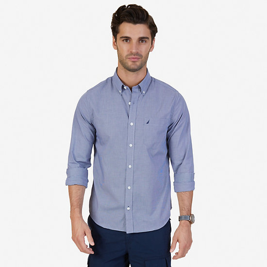 Slim Fit Wrinkle Resistant Micro Gingham Shirt - J Navy
