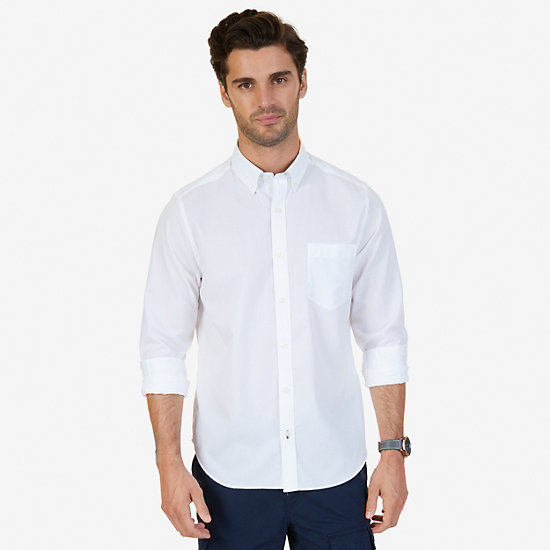 Solid Classic Fit Long Sleeve Button Down - Bright White