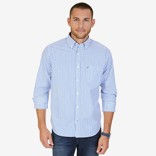 Classic Fit Striped Button Down - French Blue