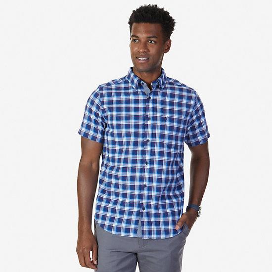 Classic Fit Navy Plaid Short Sleeve Shirt,Monaco Blue,large