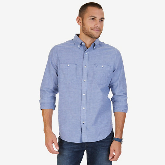 Classic Fit Chambray Poplin Shirt - Estate Blue