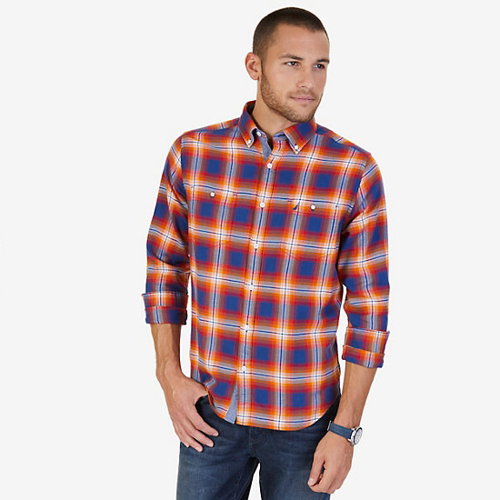 Classic Fit Plaid Flannel Shirt - Russet