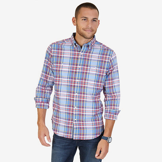 Classic Fit Riviera Plaid Flannel Shirt - Riviera Blue